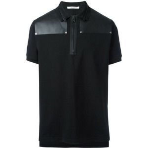 Givenchy NWOT Black Zip Collar Polo Shirt Leather